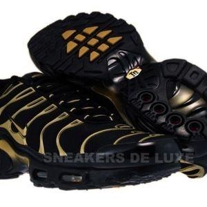 🆕Nike Air Max Plus TN 1 Black/Metallic Gold-Black